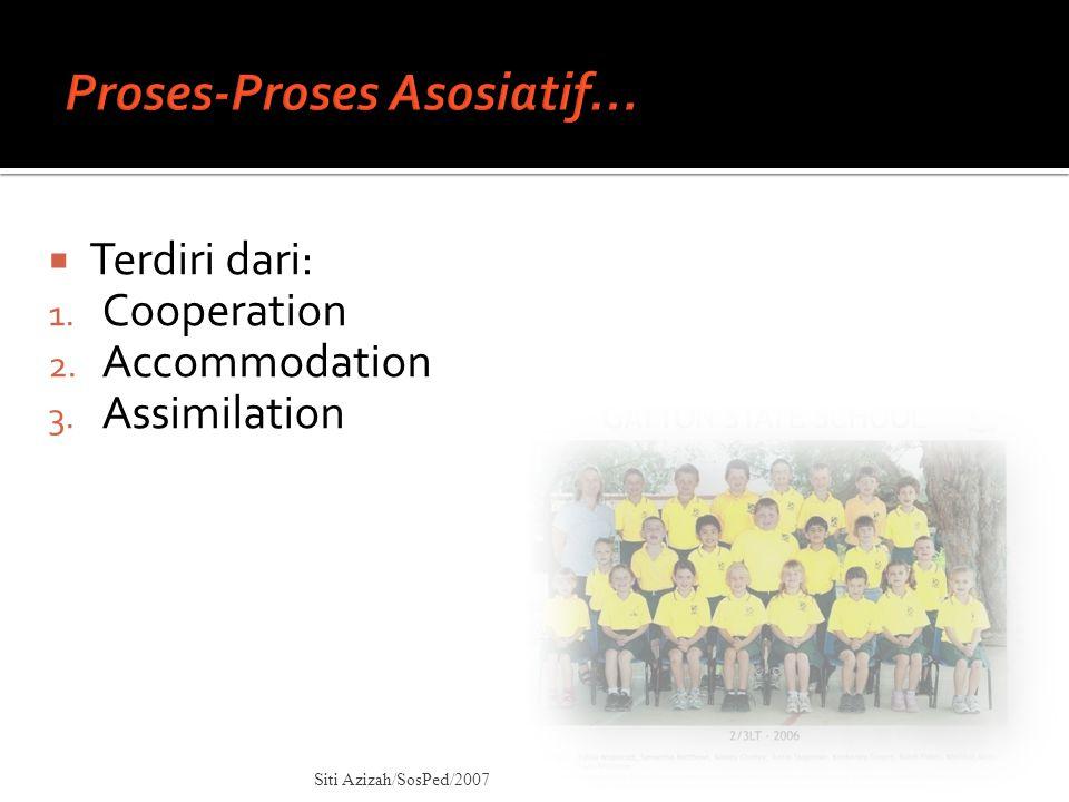  Terdiri dari: 1. Cooperation 2. Accommodation 3. Assimilation Siti Azizah/SosPed/2007