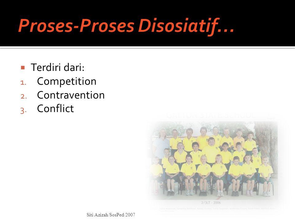  Terdiri dari: 1. Competition 2. Contravention 3. Conflict Siti Azizah/SosPed/2007