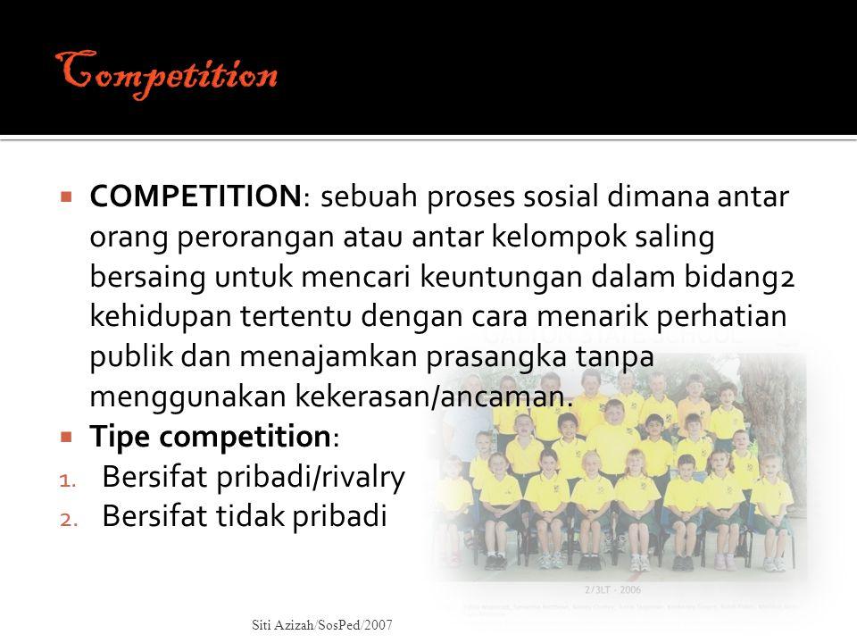  COMPETITION: sebuah proses sosial dimana antar orang perorangan atau antar kelompok saling bersaing untuk mencari keuntungan dalam bidang2 kehidupan