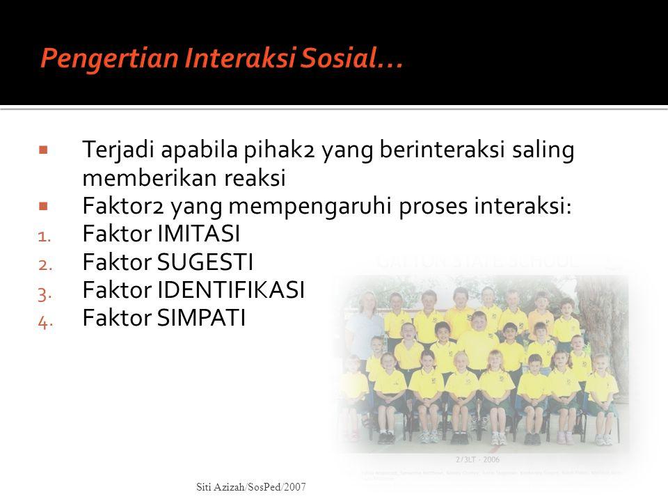  Terjadi apabila pihak2 yang berinteraksi saling memberikan reaksi  Faktor2 yang mempengaruhi proses interaksi: 1. Faktor IMITASI 2. Faktor SUGESTI