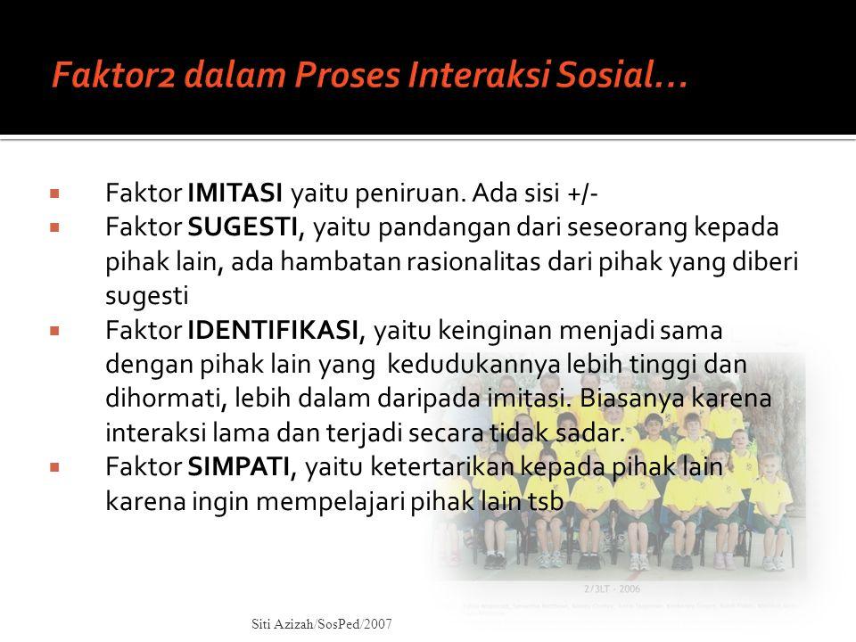 Syarat Interaksi Sosial: 1.SOCIAL CONTACT 2. COMMUNICATION  Bentuk Social Contact: 1.
