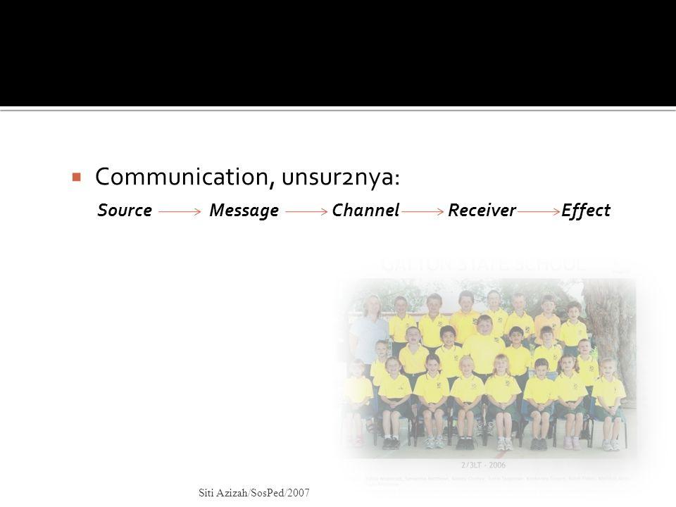  Communication, unsur2nya: Source Message Channel Receiver Effect Siti Azizah/SosPed/2007
