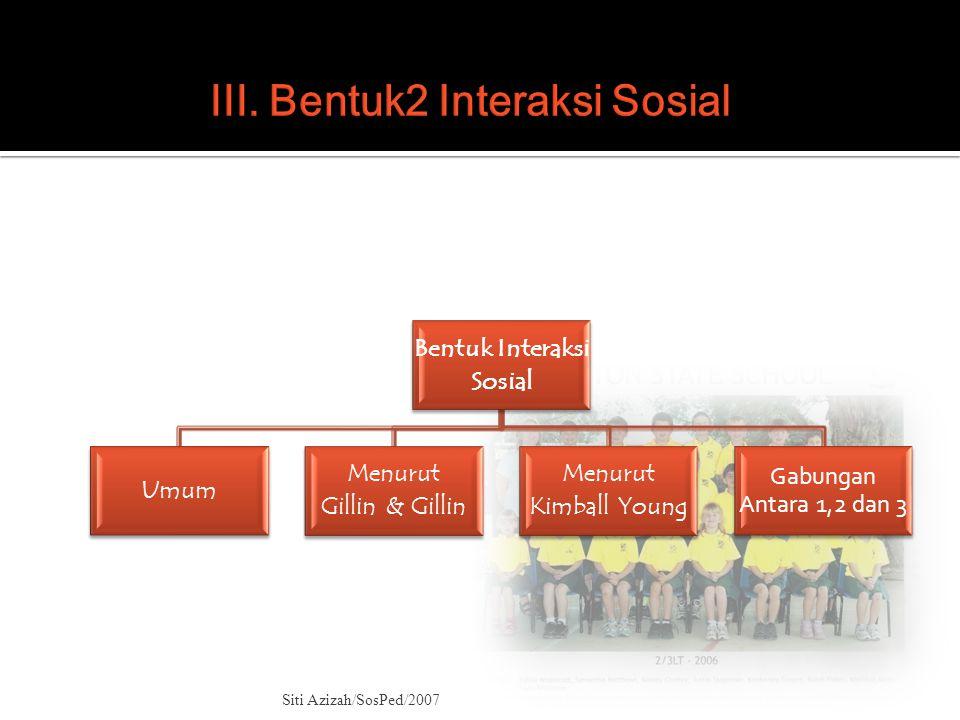 Bentuk Interaksi Sosial Umum Menurut Gillin & Gillin Menurut Kimball Young Gabungan Antara 1,2 dan 3 Siti Azizah/SosPed/2007