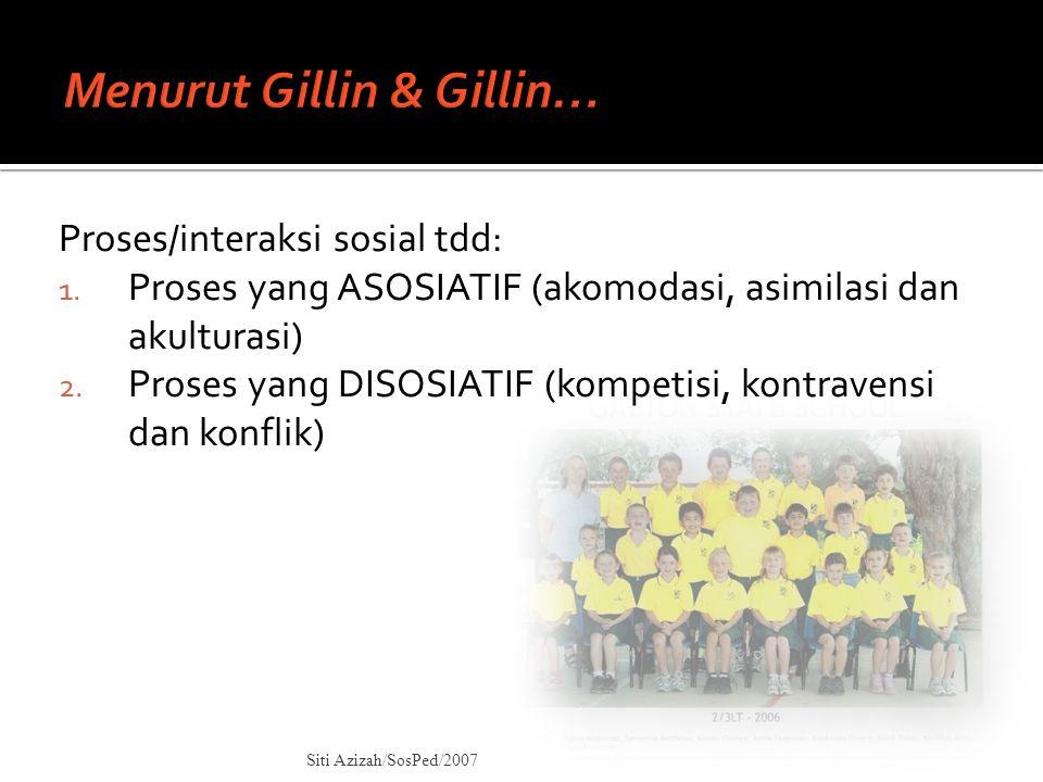 Proses/interaksi sosial tdd: 1. Proses yang ASOSIATIF (akomodasi, asimilasi dan akulturasi) 2. Proses yang DISOSIATIF (kompetisi, kontravensi dan konf