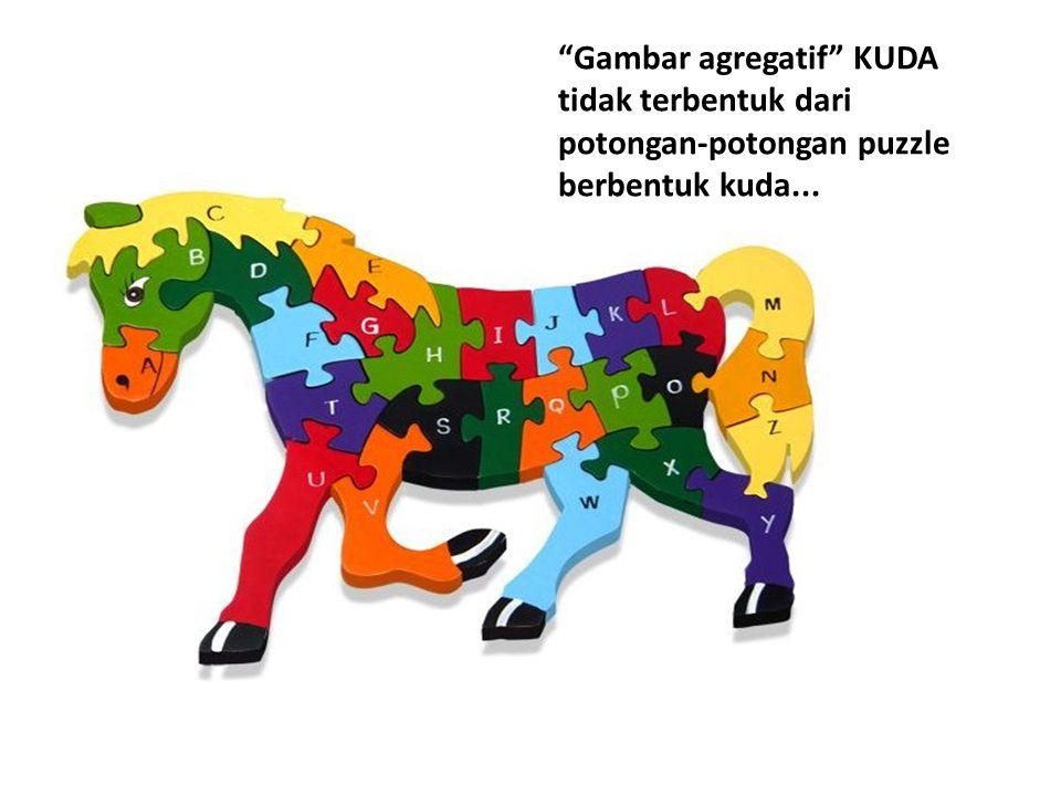 """""""Gambar agregatif"""" KUDA tidak terbentuk dari potongan-potongan puzzle berbentuk kuda..."""