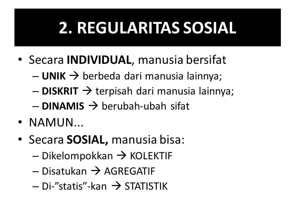 2. REGULARITAS SOSIAL Secara INDIVIDUAL, manusia bersifat – UNIK  berbeda dari manusia lainnya; – DISKRIT  terpisah dari manusia lainnya; – DINAMIS