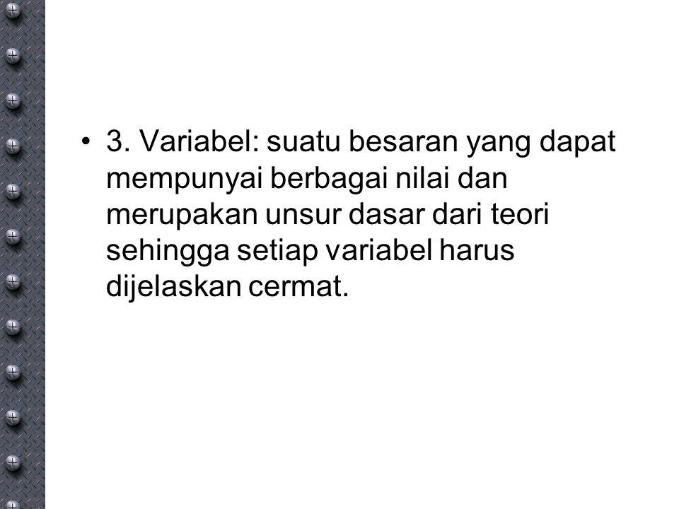 3. Variabel: suatu besaran yang dapat mempunyai berbagai nilai dan merupakan unsur dasar dari teori sehingga setiap variabel harus dijelaskan cermat.