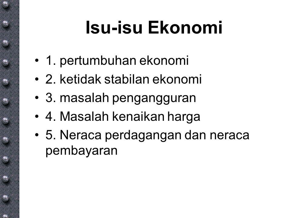 Isu-isu Ekonomi 1. pertumbuhan ekonomi 2. ketidak stabilan ekonomi 3. masalah pengangguran 4. Masalah kenaikan harga 5. Neraca perdagangan dan neraca