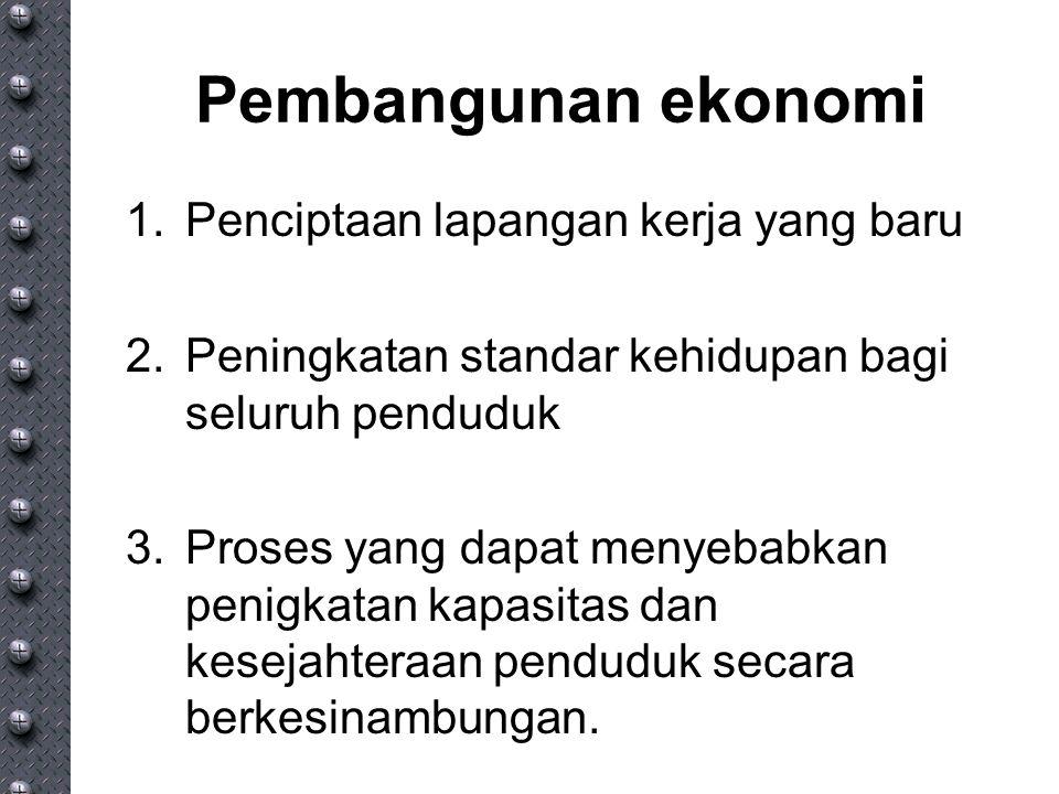 Pembangunan ekonomi 1.Penciptaan lapangan kerja yang baru 2.Peningkatan standar kehidupan bagi seluruh penduduk 3.Proses yang dapat menyebabkan penigk