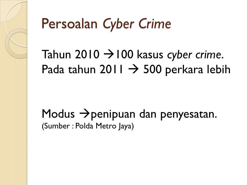 Sumber : warta ekonomi Pencurian Nomor Kartu Kredit.Pembobolan ATM Memasuki, memodifikasi atau merusak homepage (hacking) Penyerangan situs atau e-mail melalui virus atau spamming.