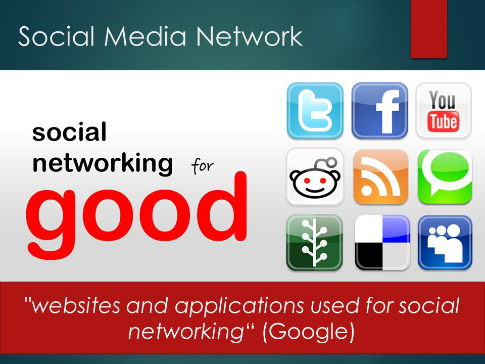 Social Media Network websites and applications used for social networking (Google)