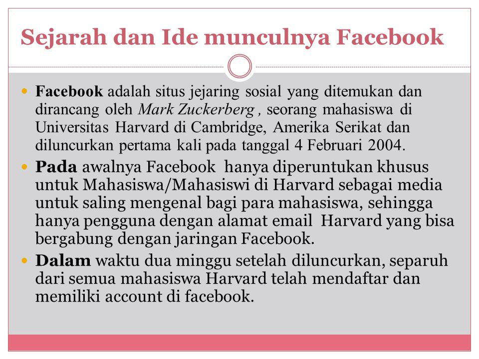 Sejarah dan Ide munculnya Facebook Facebook adalah situs jejaring sosial yang ditemukan dan dirancang oleh Mark Zuckerberg, seorang mahasiswa di Universitas Harvard di Cambridge, Amerika Serikat dan diluncurkan pertama kali pada tanggal 4 Februari 2004.
