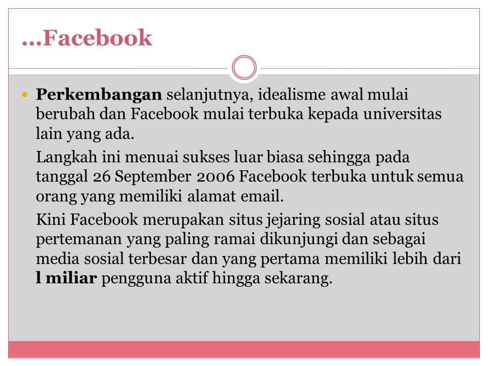 ...Facebook Perkembangan selanjutnya, idealisme awal mulai berubah dan Facebook mulai terbuka kepada universitas lain yang ada.