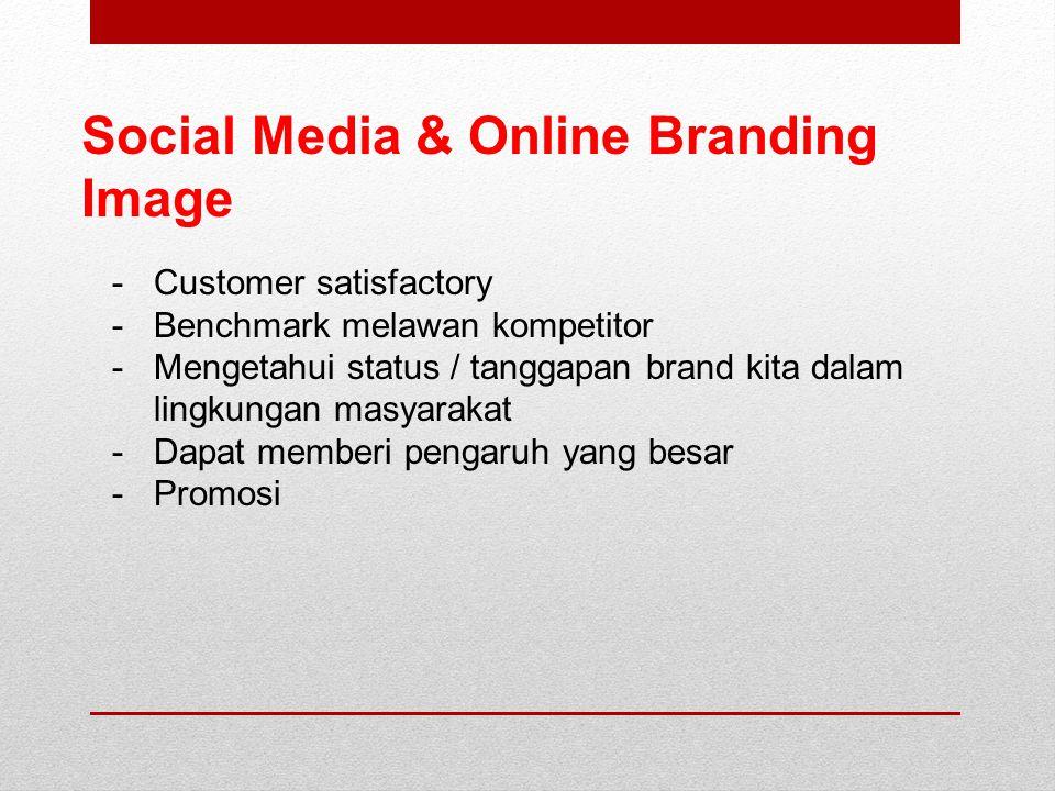 Social Media & Online Branding Image -Customer satisfactory -Benchmark melawan kompetitor -Mengetahui status / tanggapan brand kita dalam lingkungan masyarakat -Dapat memberi pengaruh yang besar -Promosi
