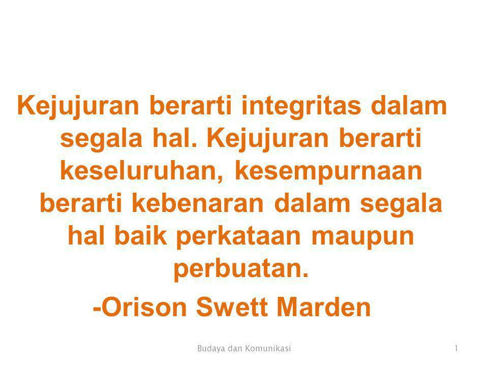 Kejujuran berarti integritas dalam segala hal.