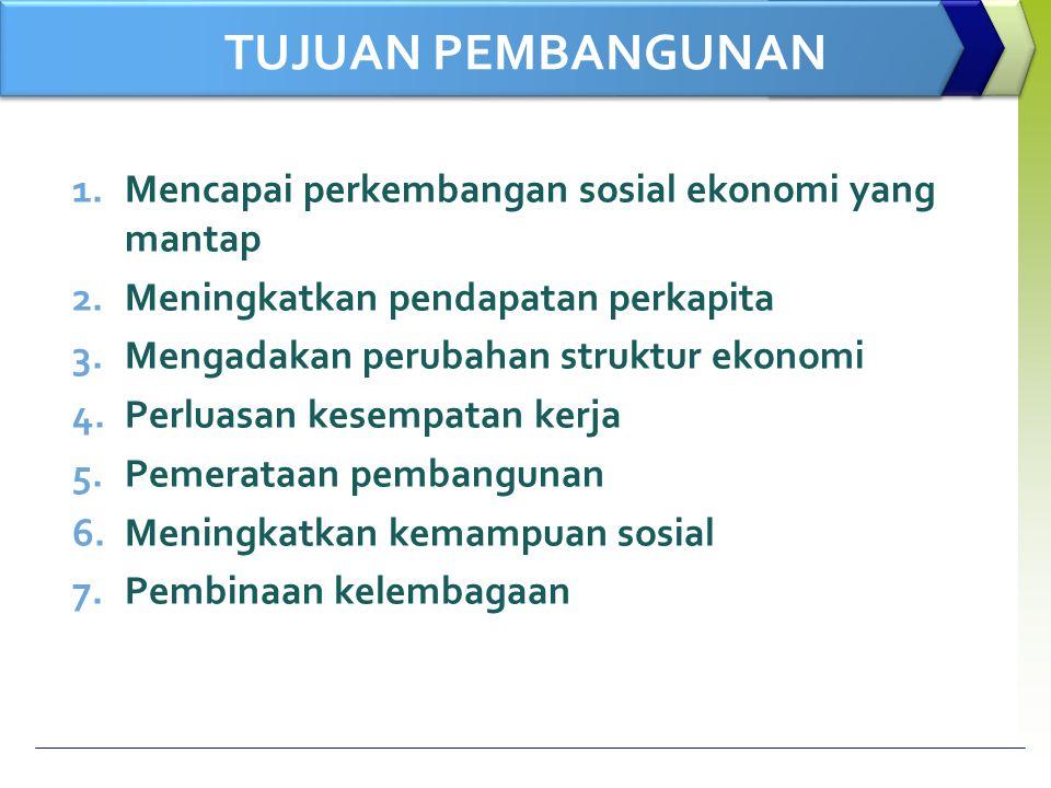 TUJUAN PEMBANGUNAN 1.Mencapai perkembangan sosial ekonomi yang mantap 2.Meningkatkan pendapatan perkapita 3.Mengadakan perubahan struktur ekonomi 4.Pe