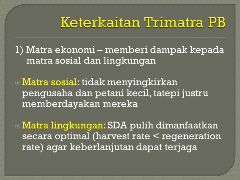 1) Matra ekonomi – memberi dampak kepada matra sosial dan lingkungan  Matra sosial: tidak menyingkirkan pengusaha dan petani kecil, tatepi justru memberdayakan mereka  Matra lingkungan: SDA pulih dimanfaatkan secara optimal (harvest rate < regeneration rate) agar keberlanjutan dapat terjaga