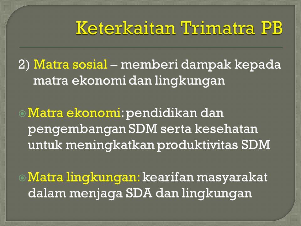 2) Matra sosial – memberi dampak kepada matra ekonomi dan lingkungan  Matra ekonomi: pendidikan dan pengembangan SDM serta kesehatan untuk meningkatk