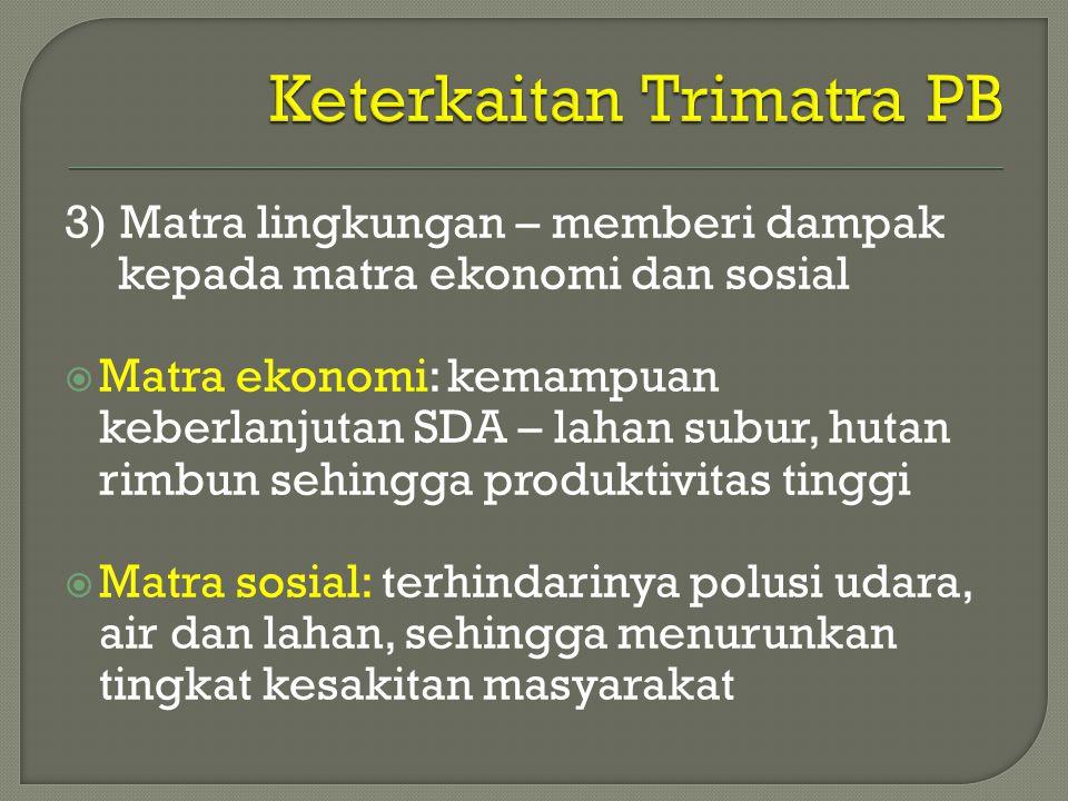 3) Matra lingkungan – memberi dampak kepada matra ekonomi dan sosial  Matra ekonomi: kemampuan keberlanjutan SDA – lahan subur, hutan rimbun sehingga
