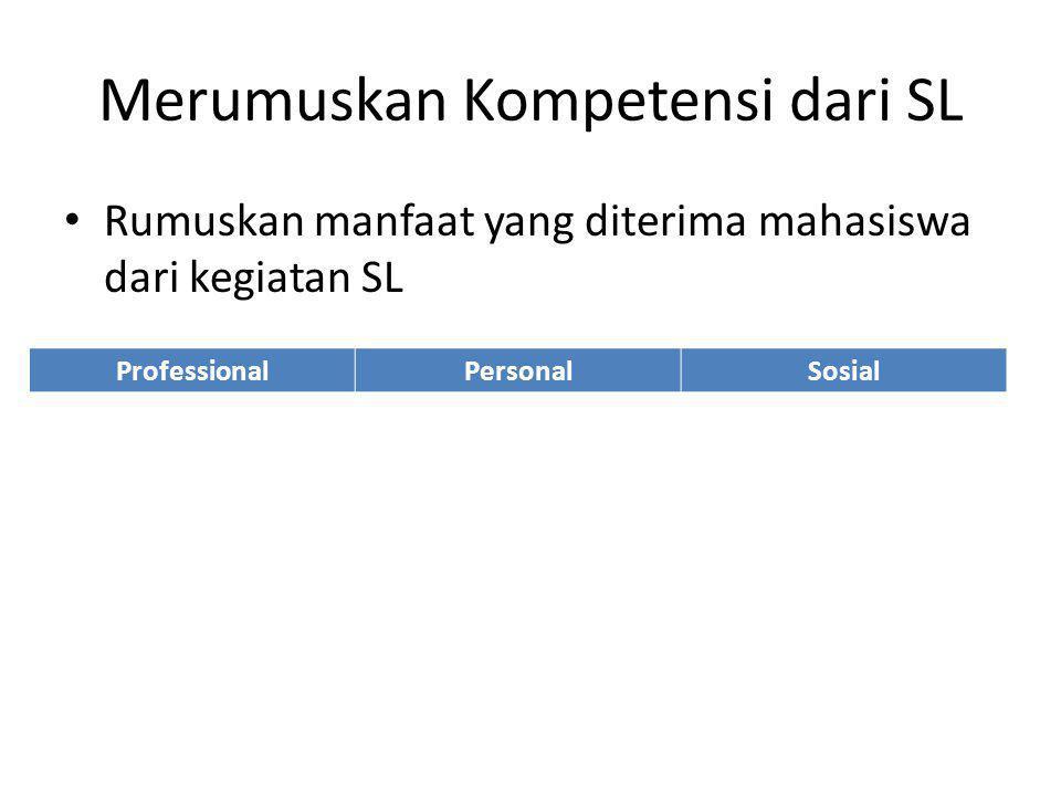 Merumuskan Kompetensi dari SL Rumuskan manfaat yang diterima mahasiswa dari kegiatan SL ProfessionalPersonalSosial