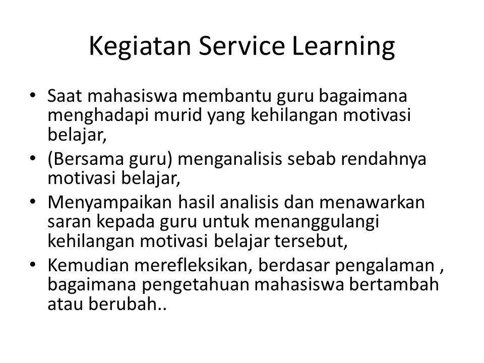 Kegiatan Service Learning Saat mahasiswa membantu guru bagaimana menghadapi murid yang kehilangan motivasi belajar, (Bersama guru) menganalisis sebab