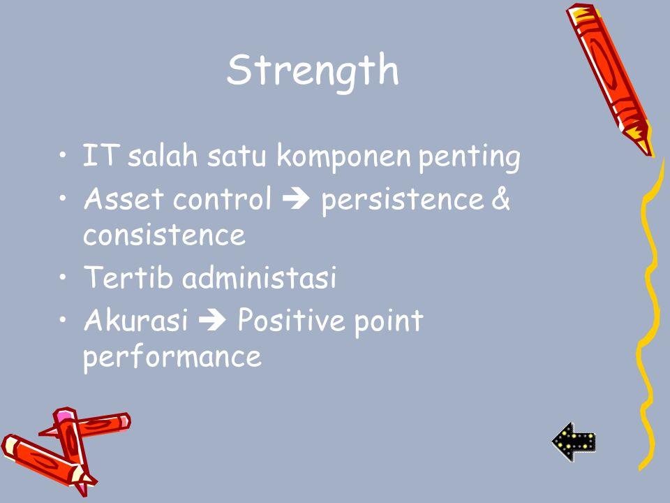 Strength IT salah satu komponen penting Asset control  persistence & consistence Tertib administasi Akurasi  Positive point performance