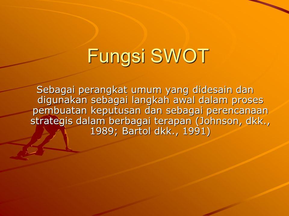 Fungsi SWOT Sebagai perangkat umum yang didesain dan digunakan sebagai langkah awal dalam proses pembuatan keputusan dan sebagai perencanaan strategis