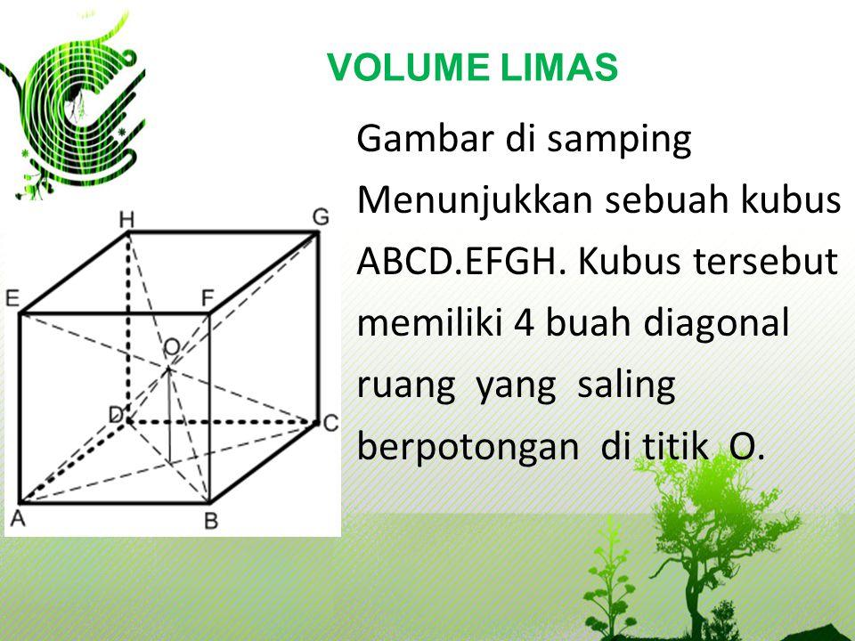 VOLUME LIMAS Gambar di samping Menunjukkan sebuah kubus ABCD.EFGH.
