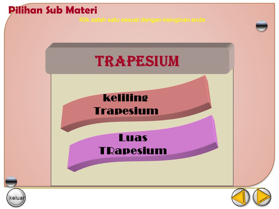Klik salah satu sesuai dengan keinginan anda Trapesium keliling Trapesium Luas TRapesium Pilihan Sub Materi keluar