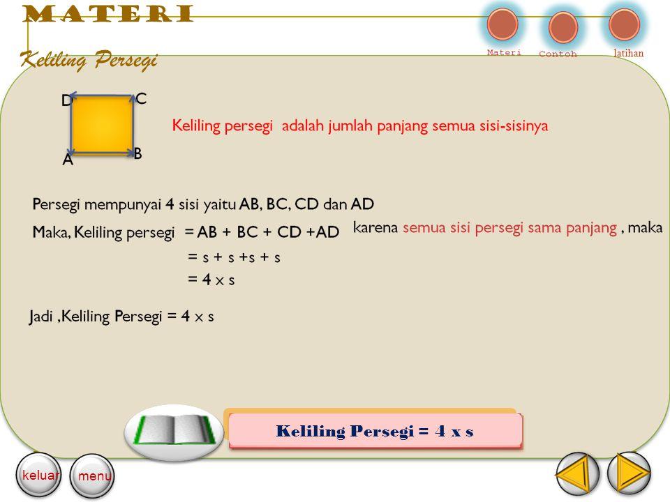 materi Keliling Persegi latihan keluar menu Keliling Persegi = 4 x s