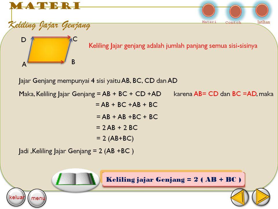 materi Keliling Jajar Genjang latihan keluar menu Keliling jajar Genjang = 2 ( AB + BC )