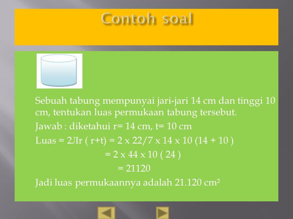 Keliling lingkaran = 2Л r Luas Tabung = 2 x L. ling + L. Persegipanjang = 2 x Л r² + P.l = 2 x Л r² + 2 Л r.t = 2 Л r ( r + t ) → Sft distrbtf Tinggi