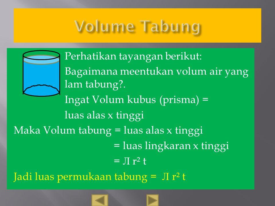 Luas = Лr² Lingkaran yang ditumpuk akan membentuk bangun tabung Volume tabung = L. lempengan x tinggi = luas lingkaran x tinggi \ = Лr²t Jadi Volum ta