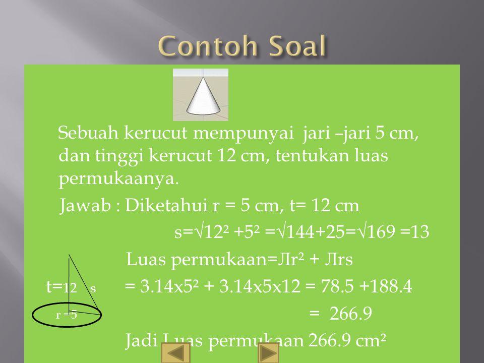 Perhatikan gambarberikut. s r 2Лr2Лr O A B Jadi Luas Kerucut = L. lingkaran + L. Selimut kerucut = Лr² + Лrs