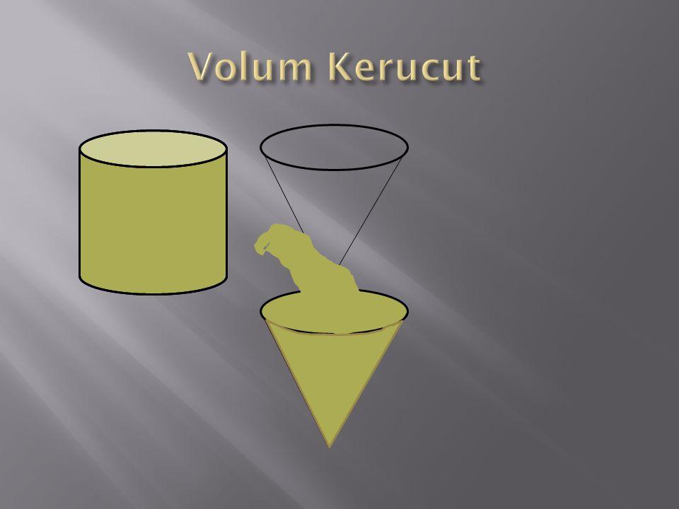 Sebuah torong terbuat dari alumunium mempunyai diameter 14 cm, dan tinggi 24 cm,Berapa luas bahan alumunium yang diperlukan. Jawab : Diketahui d=14 cm
