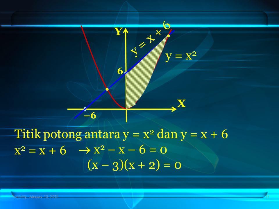 Tuesday, January 13, 201517 Titik potong antara y = x 2 dan y = x + 6 x 2 = x + 6 X Y –6 6 y = x 2 y = x + 6  x 2 – x – 6 = 0 (x – 3)(x + 2) = 0