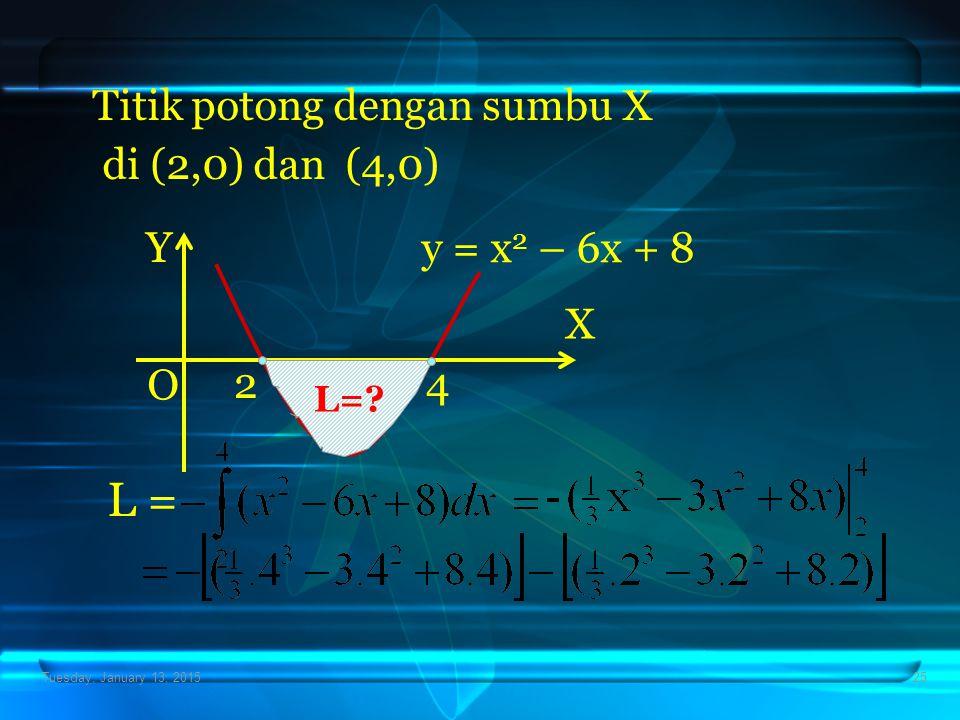 Tuesday, January 13, 201525 Titik potong dengan sumbu X di (2,0) dan (4,0) X Y O y = x 2 – 6x + 8 24 L=? L =