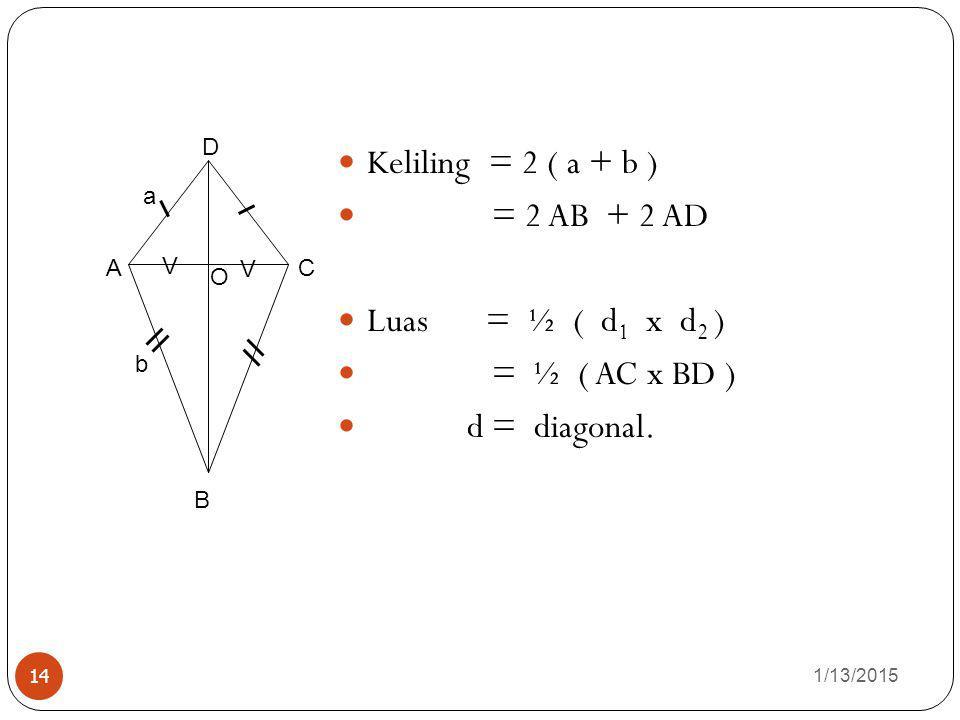 1/13/2015 14 Keliling = 2 ( a + b ) = 2 AB + 2 AD Luas = ½ ( d 1 x d 2 ) = ½ ( AC x BD ) d = diagonal. O B AC D V V a b