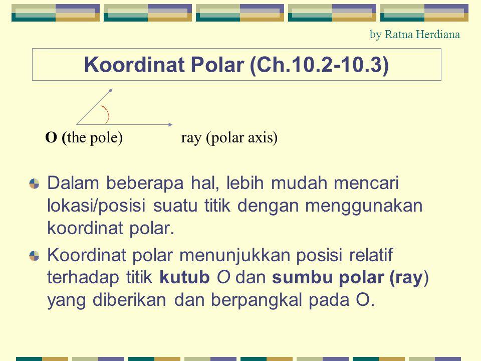 Koordinat Polar (Ch.10.2-10.3) Dalam beberapa hal, lebih mudah mencari lokasi/posisi suatu titik dengan menggunakan koordinat polar.