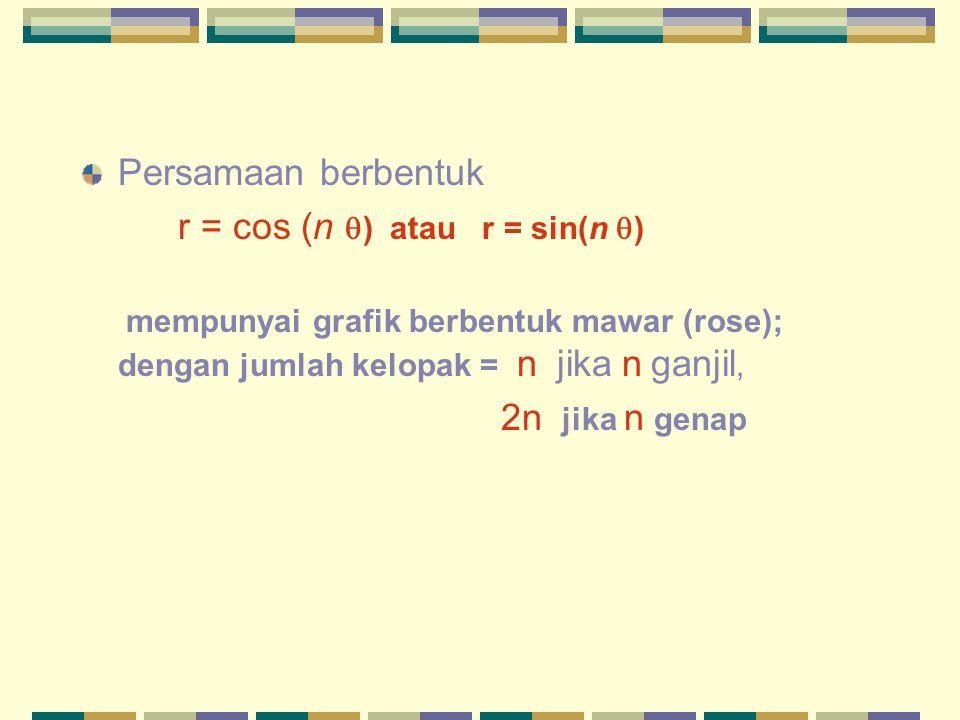 Persamaan berbentuk r = cos (n  ) atau r = sin(n  ) mempunyai grafik berbentuk mawar (rose); dengan jumlah kelopak = n jika n ganjil, 2n jika n gena