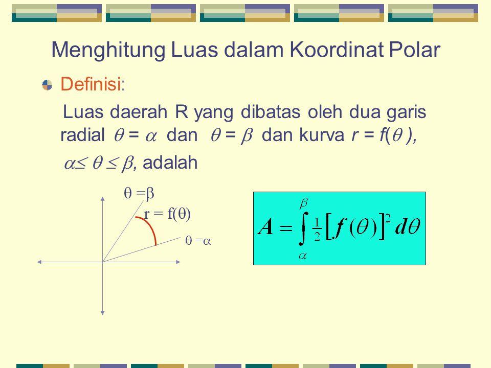 Menghitung Luas dalam Koordinat Polar Definisi: Luas daerah R yang dibatas oleh dua garis radial  =  dan  =  dan kurva r = f(  ),    , adala