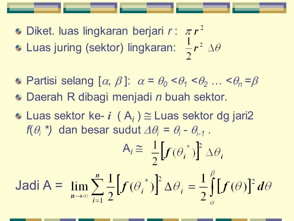 Diket. luas lingkaran berjari r : Luas juring (sektor) lingkaran: Partisi selang [ ,  ]:  =  0 <  1 <  2 … <  n =  Daerah R dibagi menjadi n b