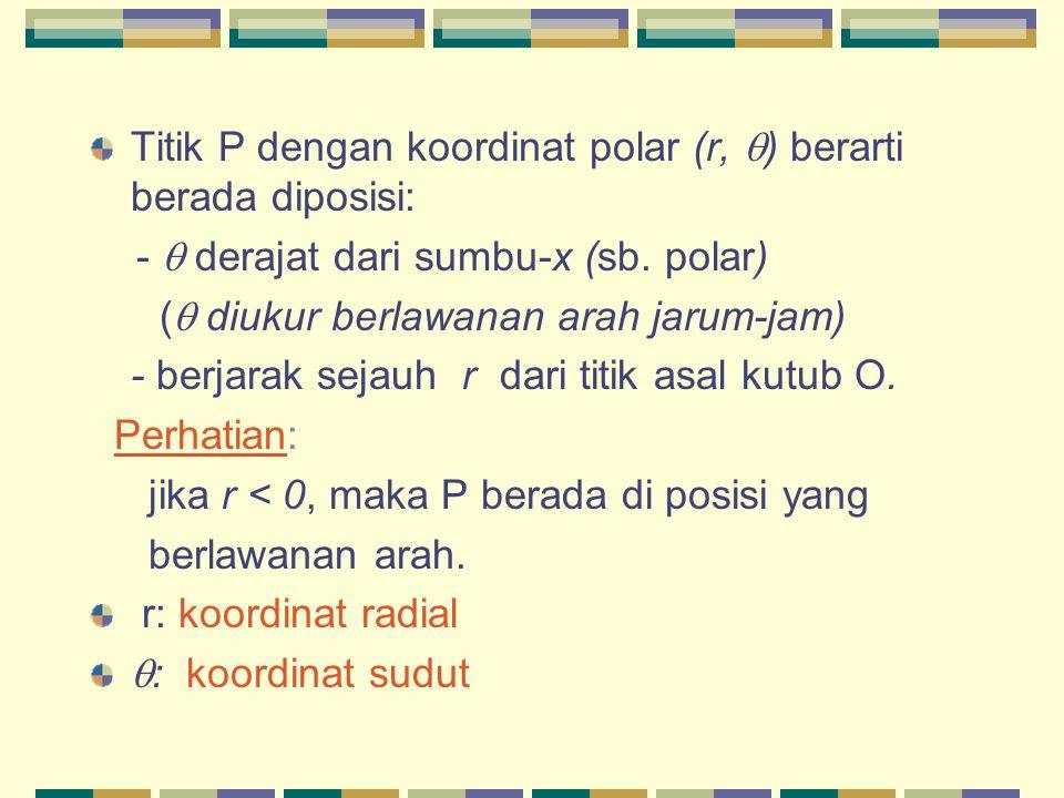 Titik P dengan koordinat polar (r,  ) berarti berada diposisi: -  derajat dari sumbu-x (sb. polar) (  diukur berlawanan arah jarum-jam) - berjarak