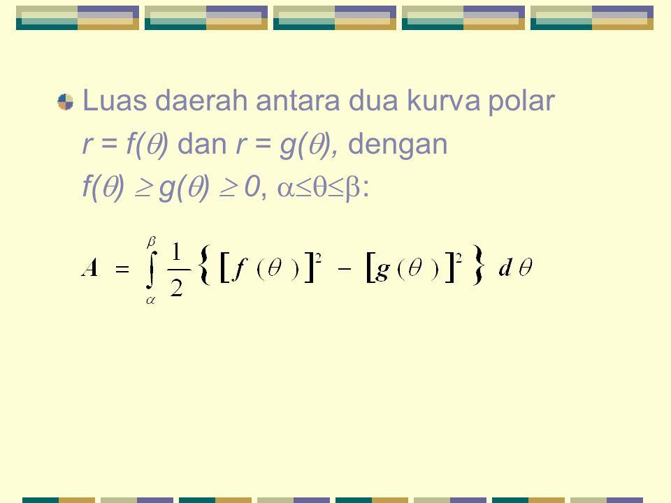 Luas daerah antara dua kurva polar r = f(  ) dan r = g(  ), dengan f(  )  g(  )  0,  :