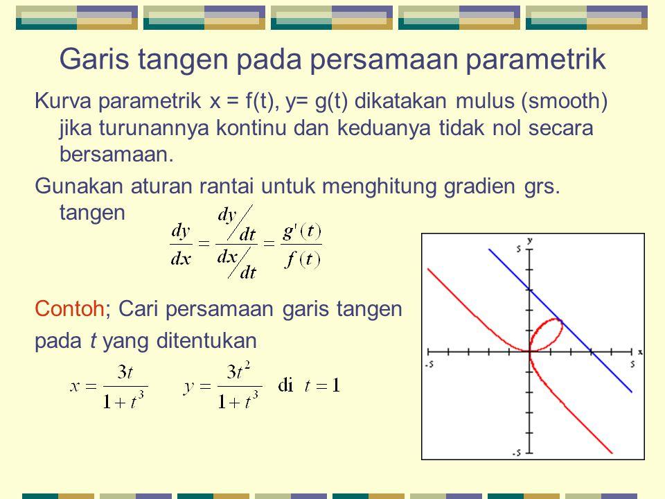 Garis tangen pada persamaan parametrik Kurva parametrik x = f(t), y= g(t) dikatakan mulus (smooth) jika turunannya kontinu dan keduanya tidak nol seca