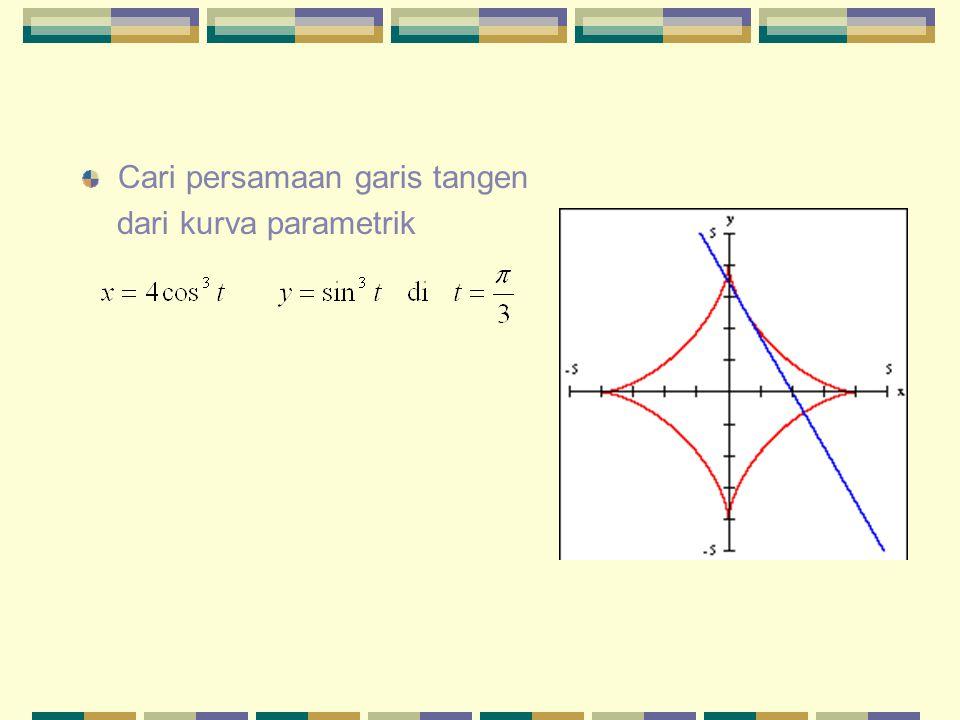 Cari persamaan garis tangen dari kurva parametrik