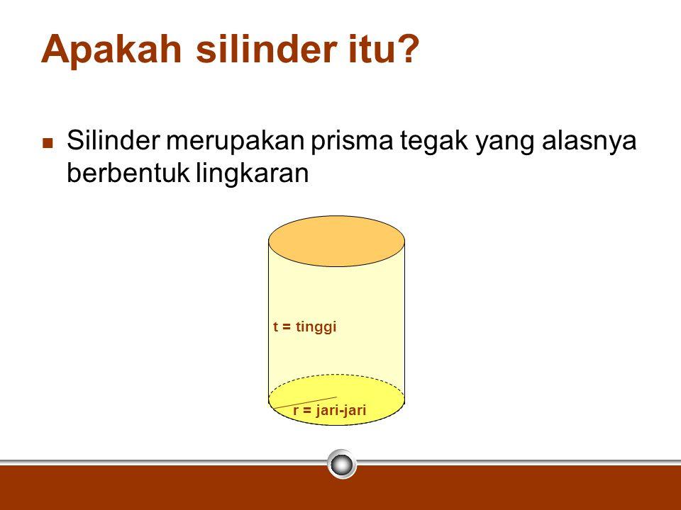 Apakah silinder itu? Silinder merupakan prisma tegak yang alasnya berbentuk lingkaran r = jari-jari t = tinggi