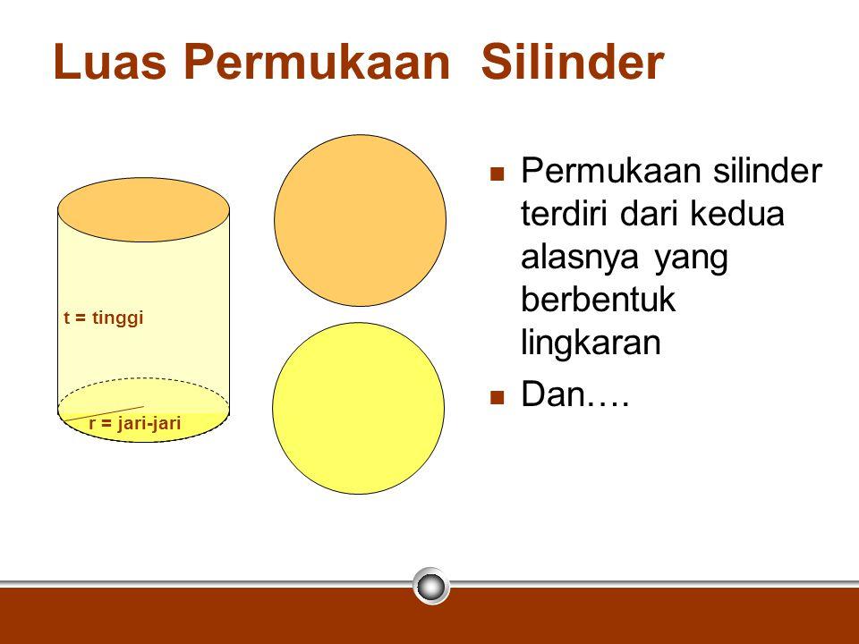 Luas Permukaan Silinder Permukaan silinder terdiri dari kedua alasnya yang berbentuk lingkaran Dan…. r = jari-jari t = tinggi