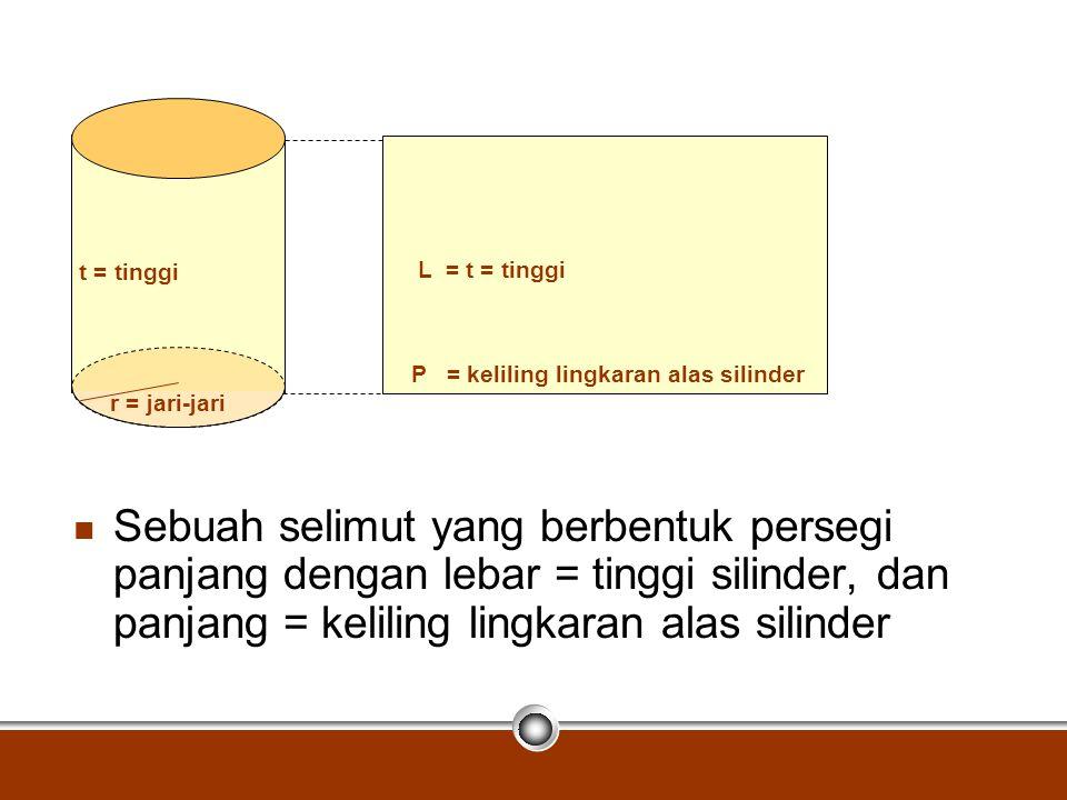 Sebuah selimut yang berbentuk persegi panjang dengan lebar = tinggi silinder, dan panjang = keliling lingkaran alas silinder r = jari-jari t = tinggi