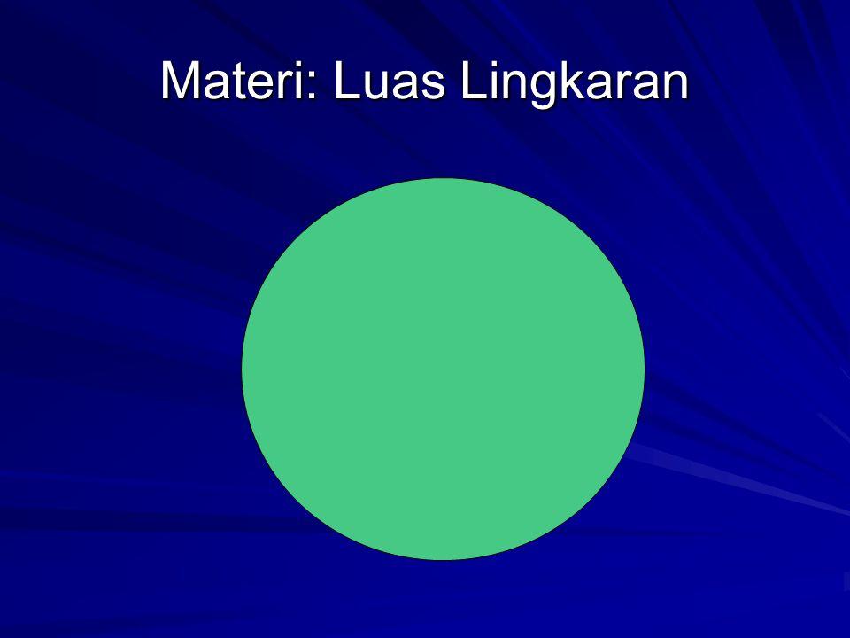 Luas Lingkaran= Luas Sektor Lingkaran Luas Persegi Panjang Panjang x Lebar Πr x r= Πr 2
